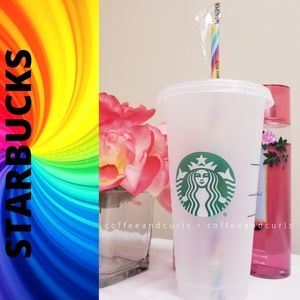 Starbucks Frosted Reusable Cold Cup W/Pride Straw